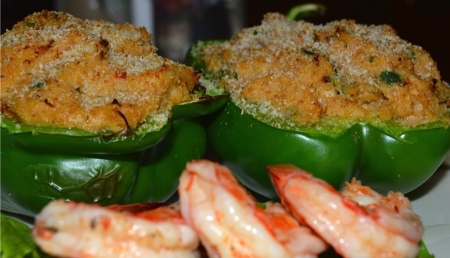 Bell Pepper stuffed with Shrimp and Crab Dressing